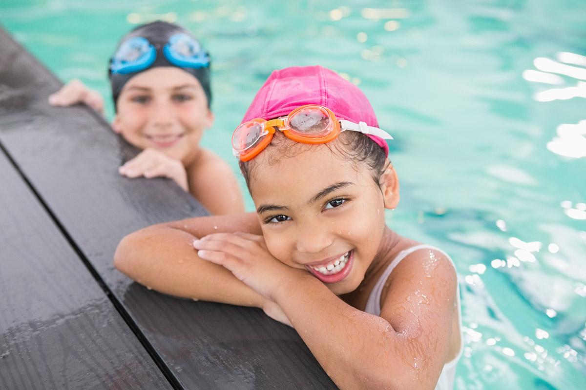Cute swimming class in the pool swim lessons in amarillo